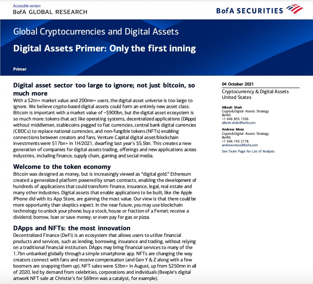 US Bank Bank of America cant miss Crypto